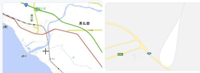 左が国土地理院。右かGoogleマップ
